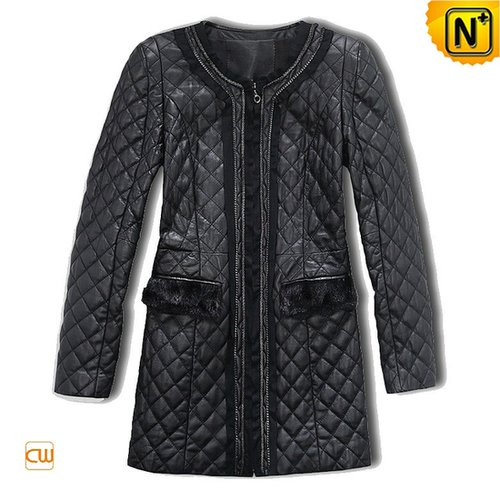 Women Quilted Leather Coat CW610019 - cwmalls.com