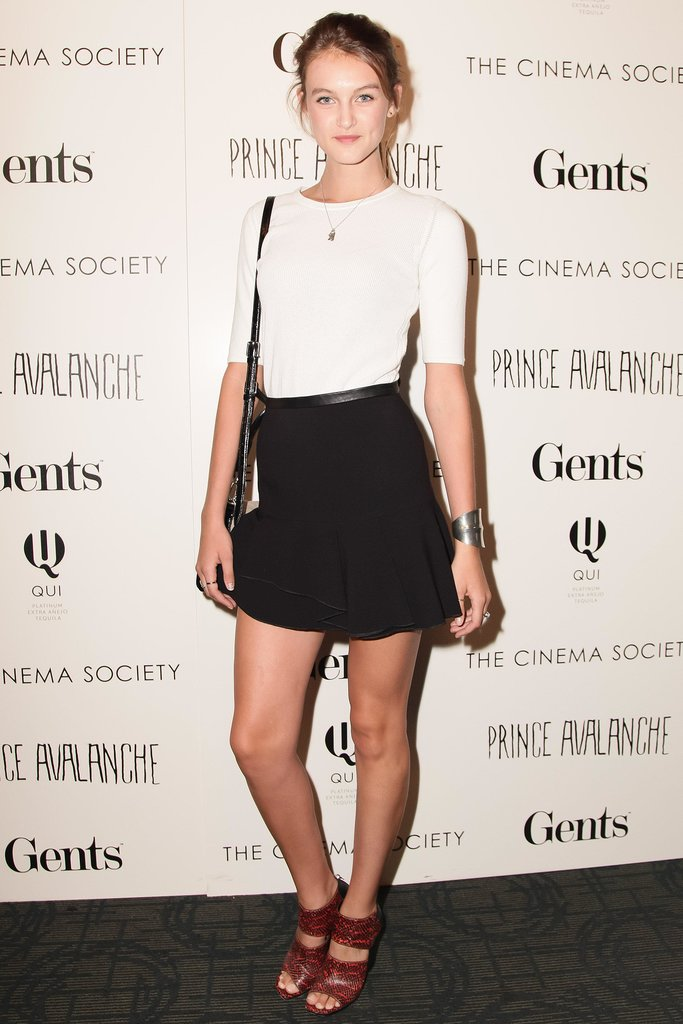 Andie Arthur looked effortlessly cool in her streamlined pairing at the New York Prince Avalanche screening.