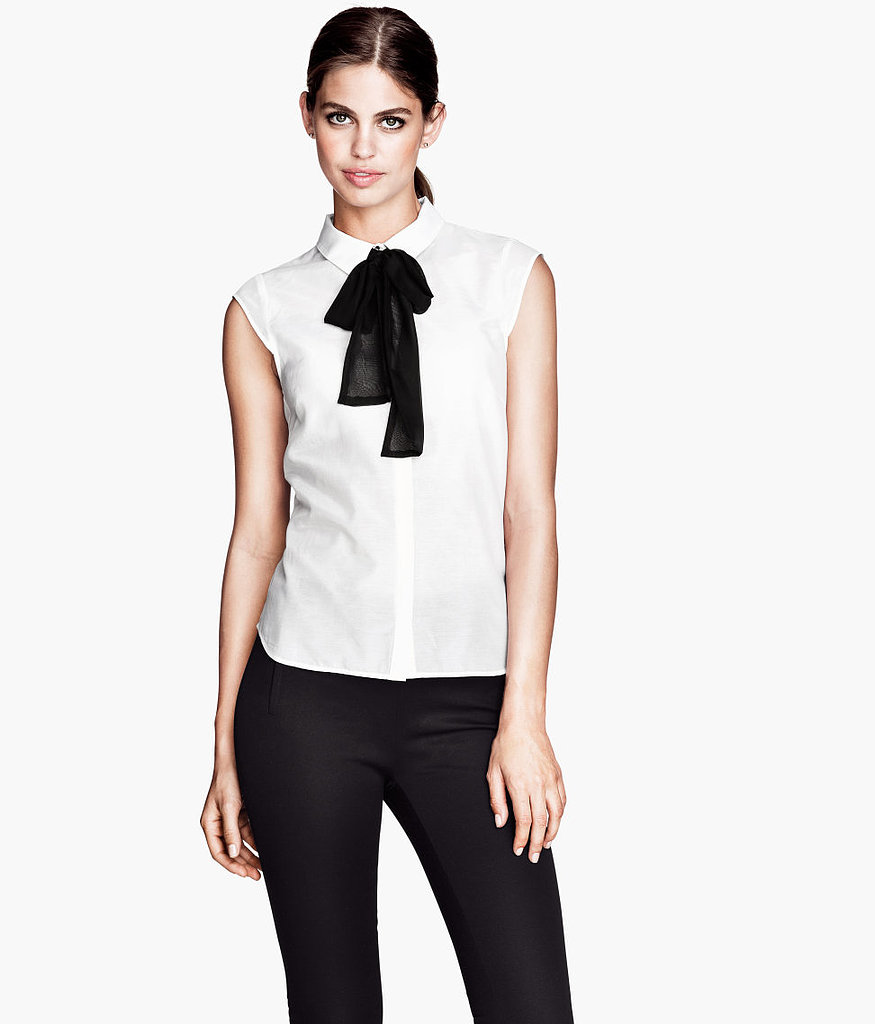 We can never resist a bow-neck blouse or a bargain. This black and white style ($30) is a must buy.