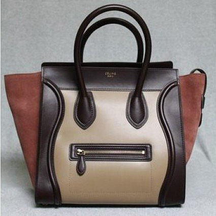 pristine (PR) Celine Blush Smooth Leather & Suede Tricolor 2012 Mini Luggage Bag, Sold Out in stores