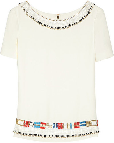 Tory Burch Jace embellished silk-georgette top