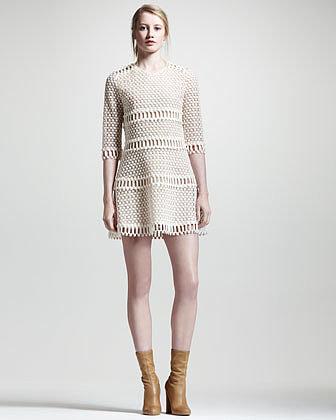 Chloe Popcorn Lace Dress, Ecru