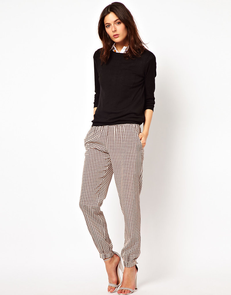 The trouser silhouette to shop? Slouchy and printed like this ASOS style ($48).