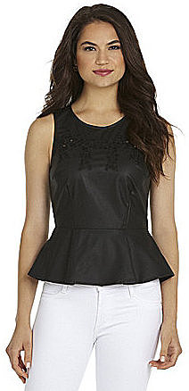 Sugar Lips Vegan Leather Peplum Top