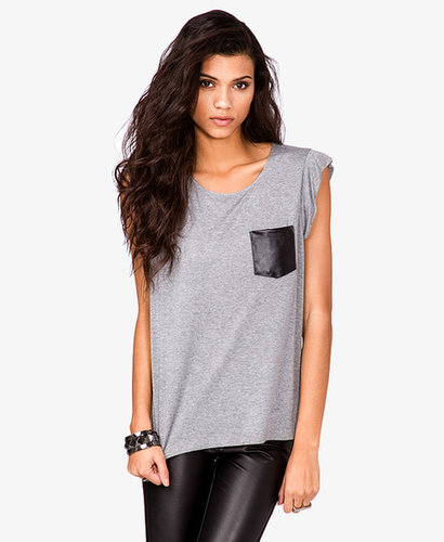 FOREVER 21 Faux Leather Pocket Tee