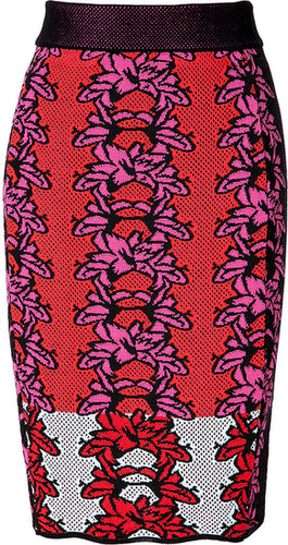 M Missoni Cherry/Pink/Black Cotton-Blend Intarsia Knit Skirt