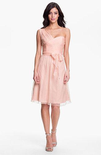 Amsale One Shoulder Crinkle Silk Chiffon Dress