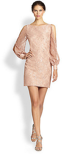 Aidan Mattox Cutout-Shoulder Metallic Lace Dress