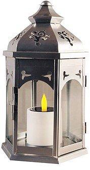 Blachère Lanterne kiosque et bougie solaire argentée