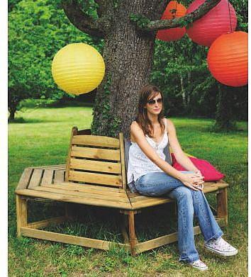 Banc de jardin circulaire en bois ORLANDO