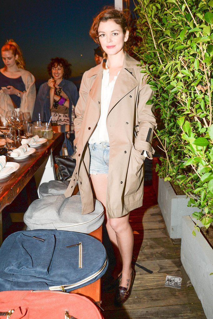 Nora Zehetner dined at The Surf Lodge in casual separates.