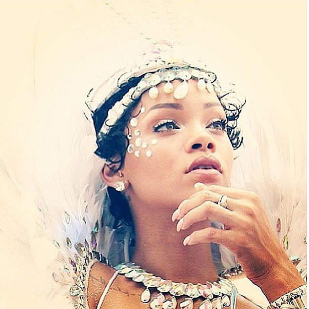 Rihanna gave a glimpse of her gorgeous beauty look while celebrating at the Kadooment Day parade in Barbados. Source: Instagram user badgalriri