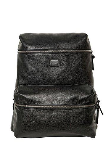 Deer Print Leather Backpack