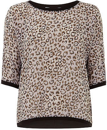 Animal print jersey back top