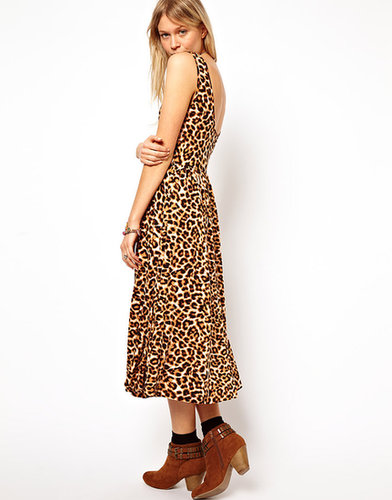 ASOS Midi Sundress With Scoop Back In Animal Print