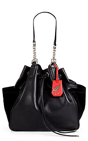 Diane von Furstenberg Sydney Leather and Suede Drawstring Tote