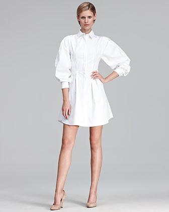 Thakoon Puff-Sleeve Poplin Shirtdress