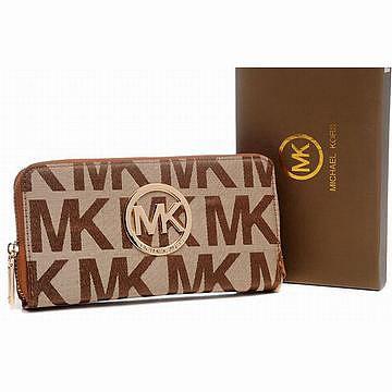 Michael Kors Continental Monogram Leather Purses Khaki Womens