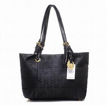 Michael Kors Jet Set Monogram Signature Tote Black Handbags Womens