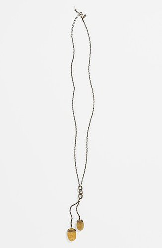 Rachel Stone Pendant Necklace Taupe/ Gold