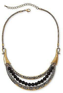 Aris by Treska Gold-Tone & Black Bead Bib Necklace