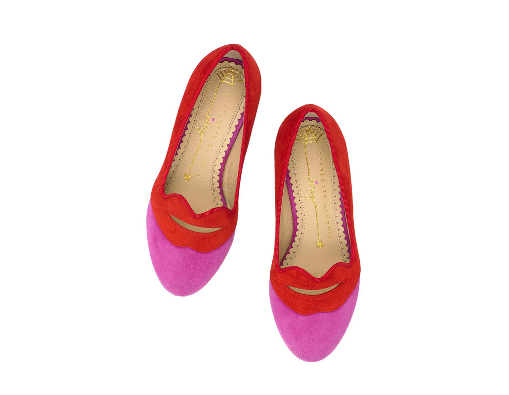 Charlotte Olympia Bisoux flats ($295) in pink and red.