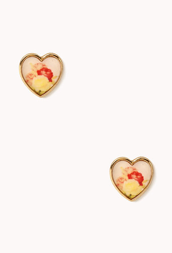 FOREVER 21 Floral Heart Studs