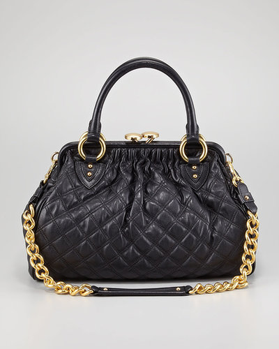 Marc Jacobs Stam Quilted Leather Satchel Bag, Black