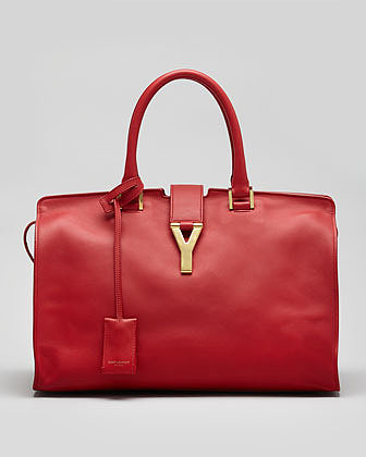 Saint Laurent Y-Ligne Cabas Large Leather Carryall Bag, Red