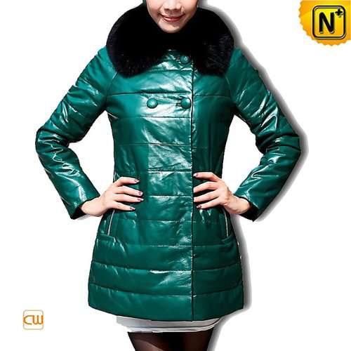 Women Leather Down Coat Green CW610033 - cwmalls.com