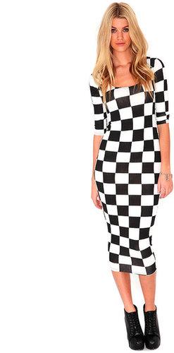 Garra Long Sleeved Checked Midi Dress
