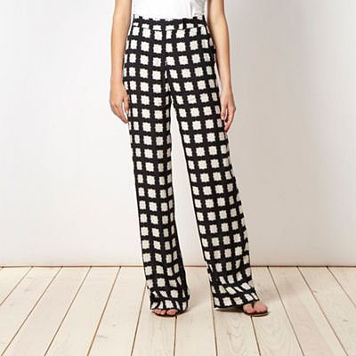 Black checked palazzo trousers