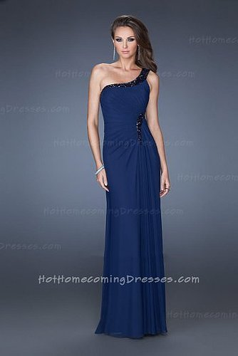 Long One Shoulder Sweetheart Evening Gowns Navy with Side Slit