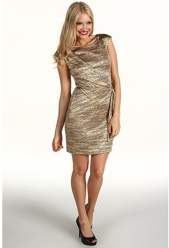 Muse - Knot Hip Sash Dress (Gold Multi) - Apparel