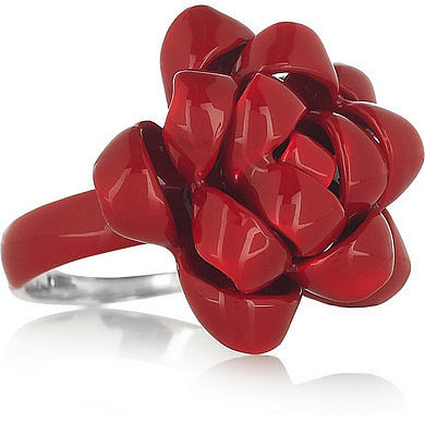 Solange Azagury-Partridge Ribbon emaillierter Ring aus Sterlingsilber