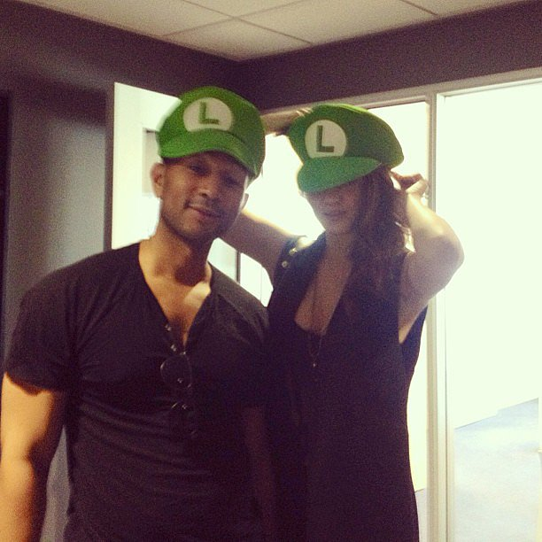 Chrissy Teigen and fiancé John Legend showed off their silly sides while wearing Luigi hats. Source: Instagram user chrissyteigen