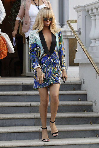 Showing off her gorgeous gams in a printed Stella McCartney blazer worn as a dress, Rihanna looked flawless for her overseas appearance in March 2012.