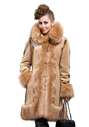 Fashion faux rex cashmere with faux fox fur collar|long coat|free shipping