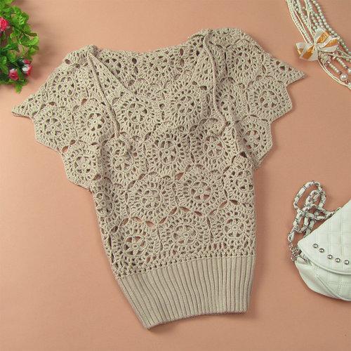 Women Cutout Handmade Crochet Batwing Sleeve loose Hooded Pullover Sweater