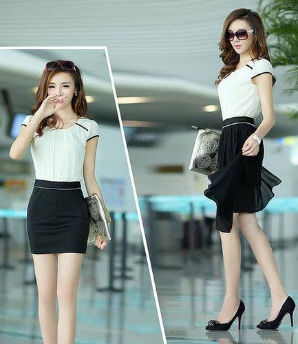 Black slim hip sexy color block two ways irregular one-piece bodycon chiffon dress skirt