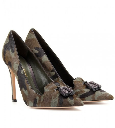 Gianvito Rossi CAMOUFLAGE HAIRCALF PUMPS WITH TASSELS