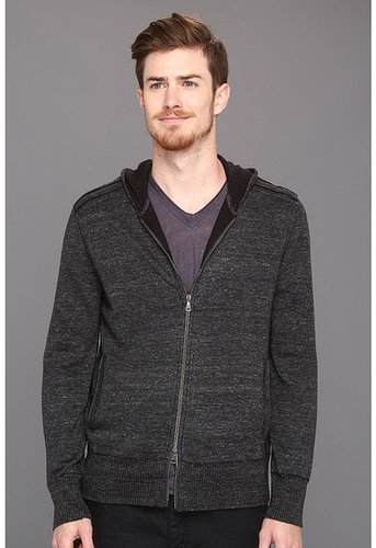 John Varvatos Collection - Linen Blend L/S Full Zip Hoodie (Charcoal Heather) - Apparel