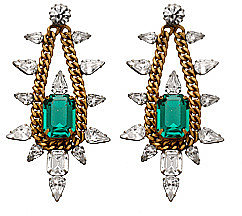 Elizabeth Cole Chain and Crystal Chandelier Earrings