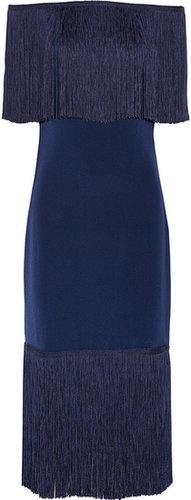 Notte by Marchesa Fringe-trimmed silk-crepe dress