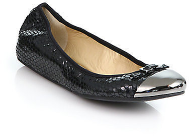 Diane von Furstenberg Bonita Snake-Embossed Leather Ballet Flats