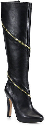 Diane von Furstenberg Cambria Zipper-Trimmed Leather Boots