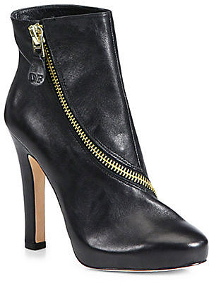 Diane von Furstenberg Cady Leather Zip-Detail Ankle Boots