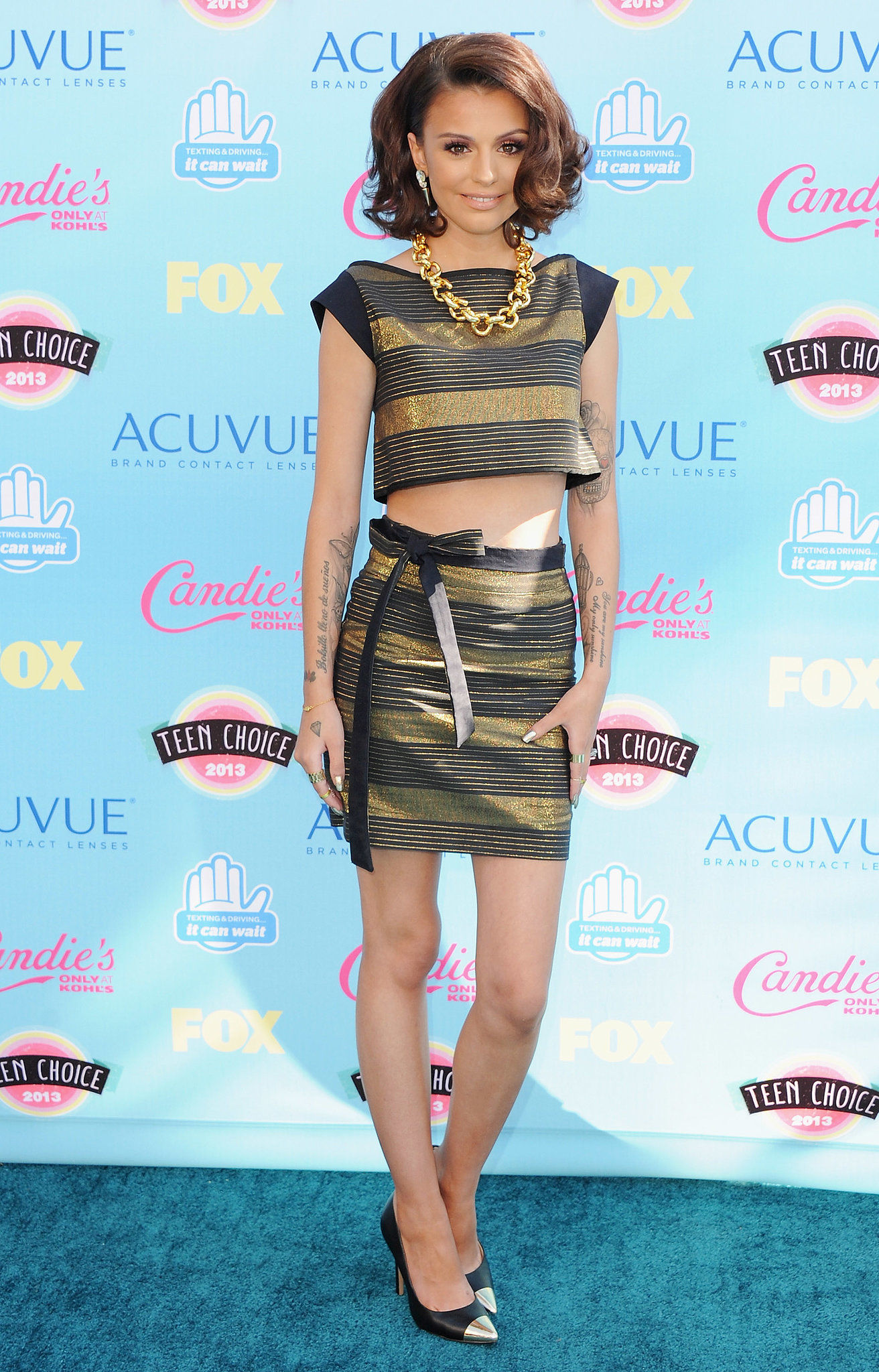 Cher Lloyd caught our eye in one of the evening's top trends — midriff-baring separates —in a look by The Hellers.