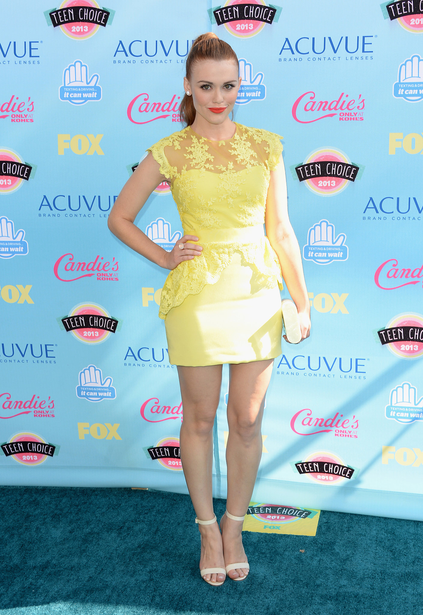 Notte by Marchesa's yellow lace dress was a pretty pick for Holland Roden.