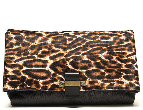 Lanvin Leopard Pony Swag Clutch